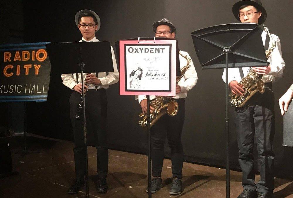 Annie Pit Band Members (L-R: Elliz Alvarez, Carlo Roces, Flyn Gallardo) are featured on stage!