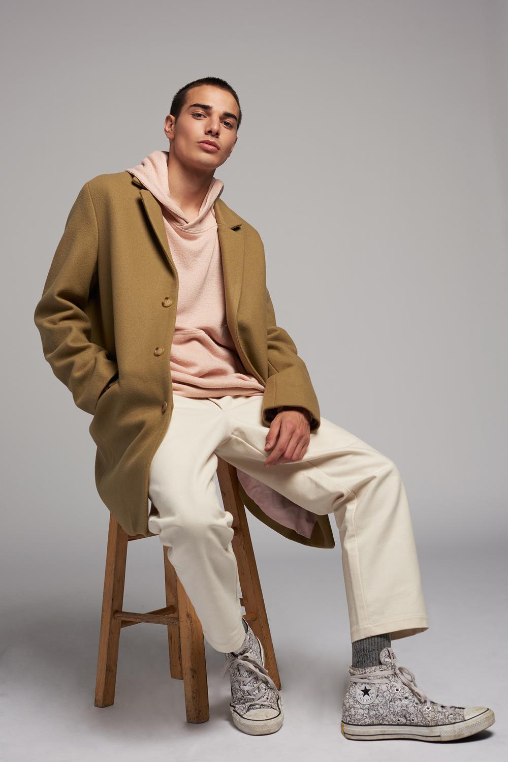 Overcoat & Pants  Bristol LA   Hoodie  Represent   Shoes  Converse