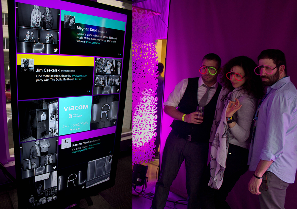 A live social media Twitter and Instagram photo booth feed created for the event party.