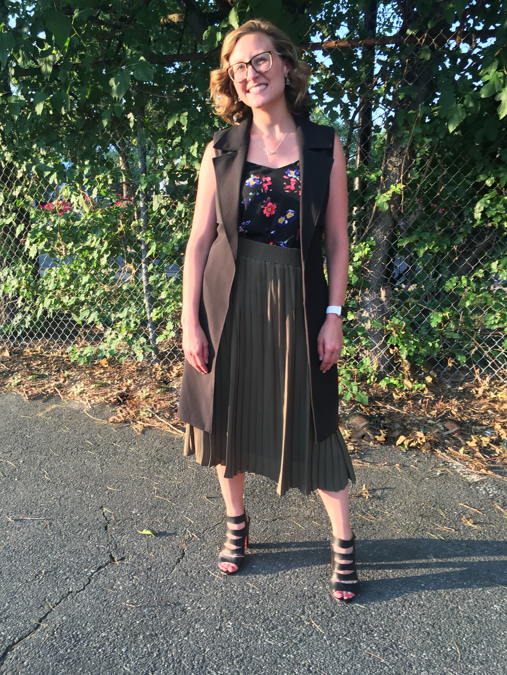 July 20:  Express sleeveless trench and camisole, Who What Wear for Target pleated skirt, Splendid sandals