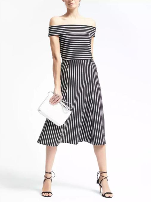 Striped off-shoulder midi dress