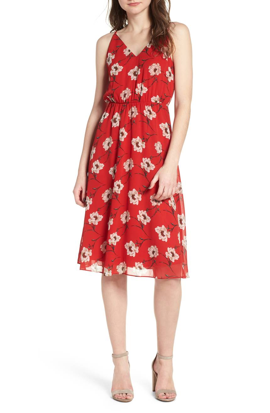 Floral Blouson Midi Dress