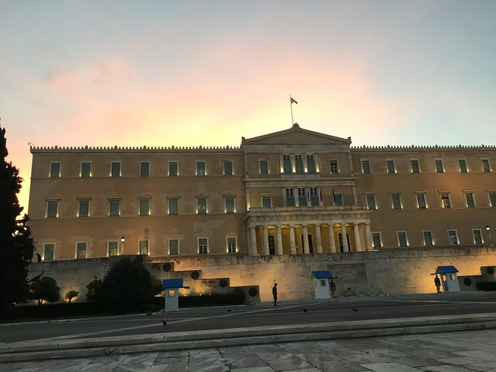Last image of Athens at sunrise on the way to the airport.