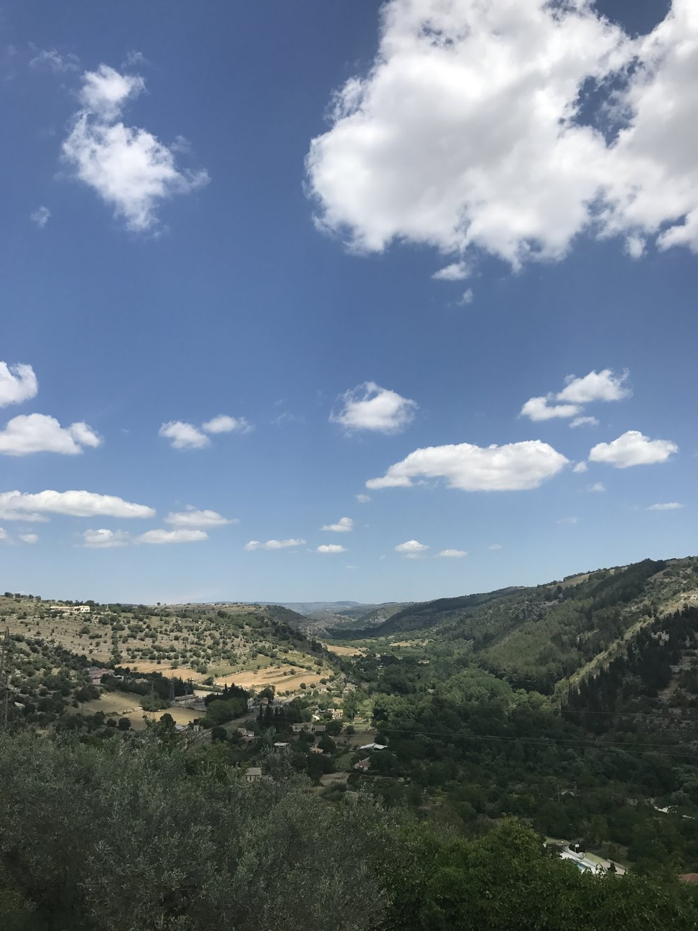 View of the countryside from the public gardens of Ragusa