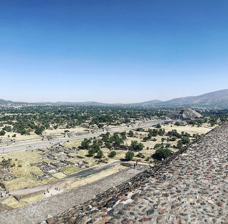 View of Pyramid of the Moon from the ledge of the Pyramid of the Sun