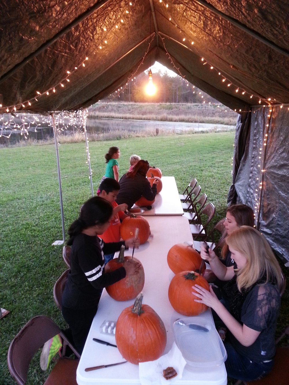 Carving pumpkins! Before it got messy...