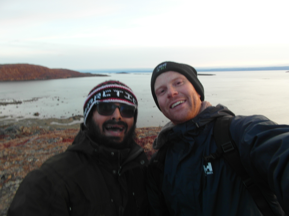Self-satisfied selfie on the tundra (I am on your right).