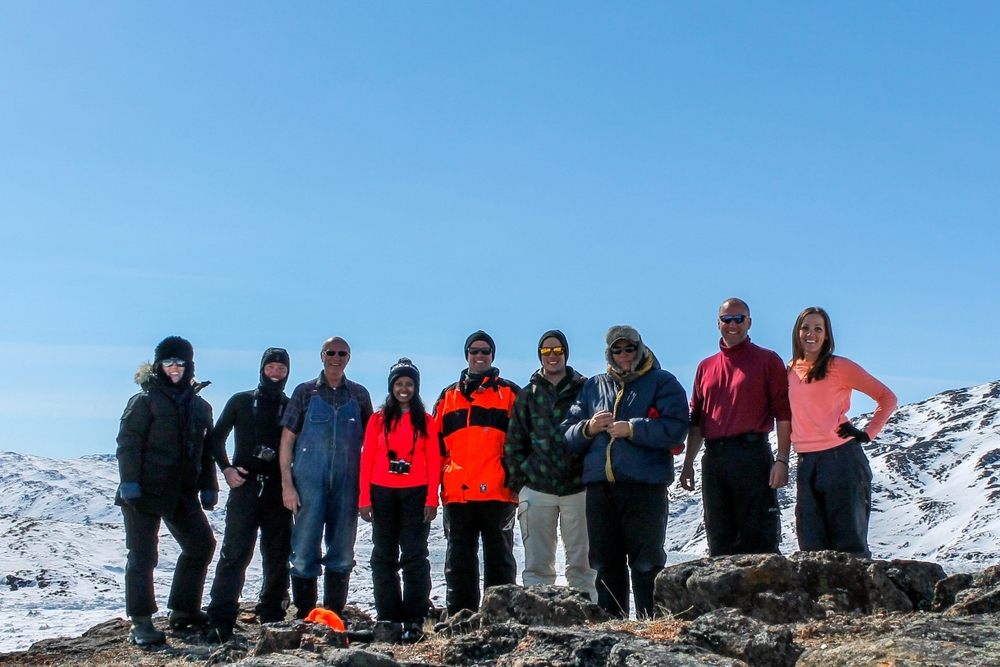 Group shot. From left to right we have Olivia, Rob, John (note the epic overalls), Anubha (sporting neon orange), Barrie (sporting *fluorescent* orange), Bryce, James (our amazing guide), Jeremy, and me (whose intended neon seems rather dull).