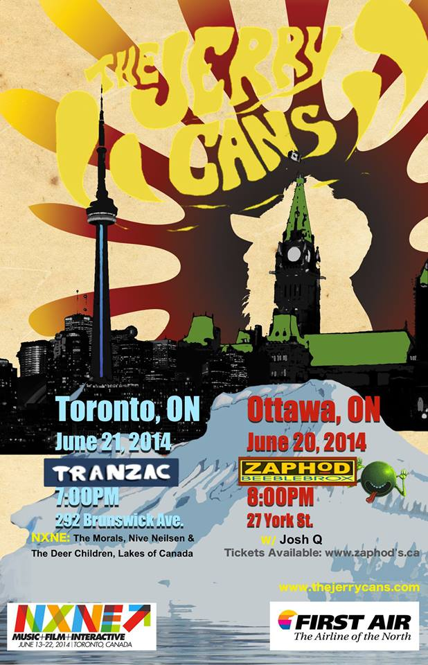 Poster for The Jerry Cans in Ottawa and Toronto.