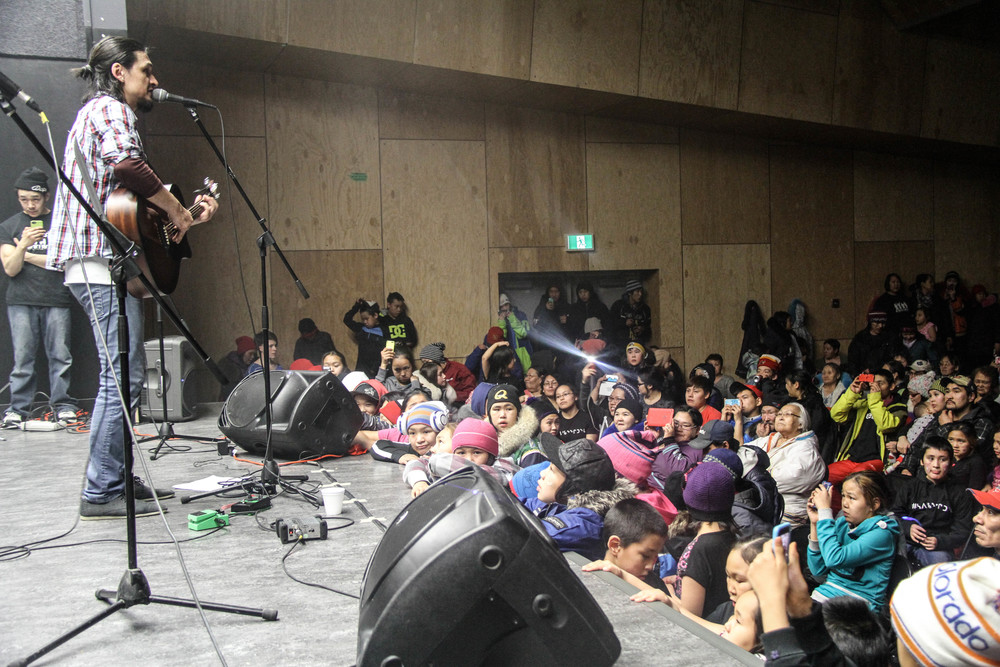 Nunavik's Saali performing with Igloolik's Northern Haze in New Community Hall. Photo by Denis Thibeault.