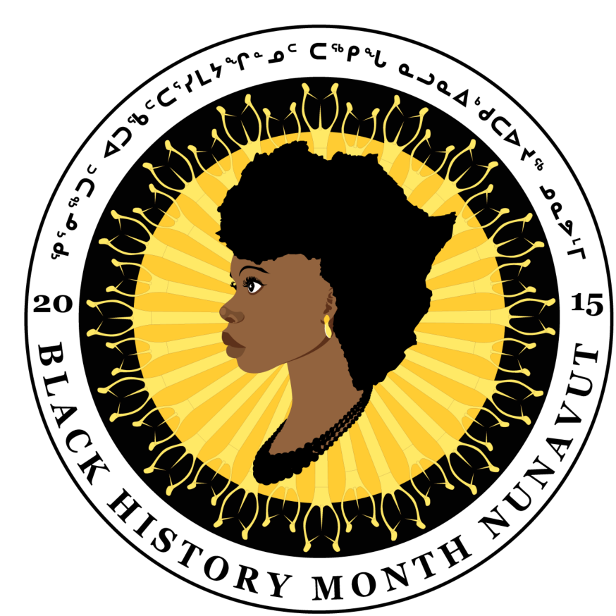 The Iqaluit Black History Month logo, designed by Lekan Thomas, combines elements from African, Nunavut, and Canadian culture.