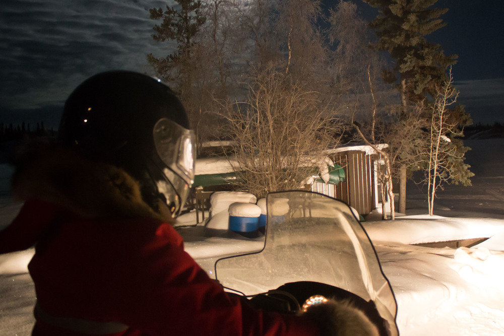 Anubha at the helm. Watch your pipelines, Yellowknife! Photo by Sara Statham.