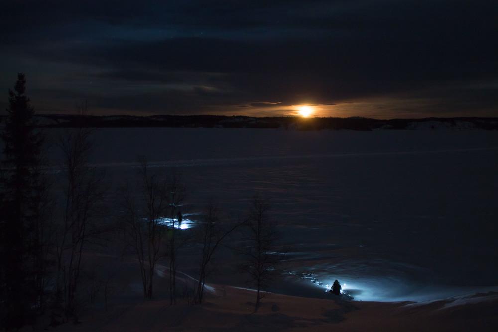 Tobogganing in the dark. Photo by Sara Statham.
