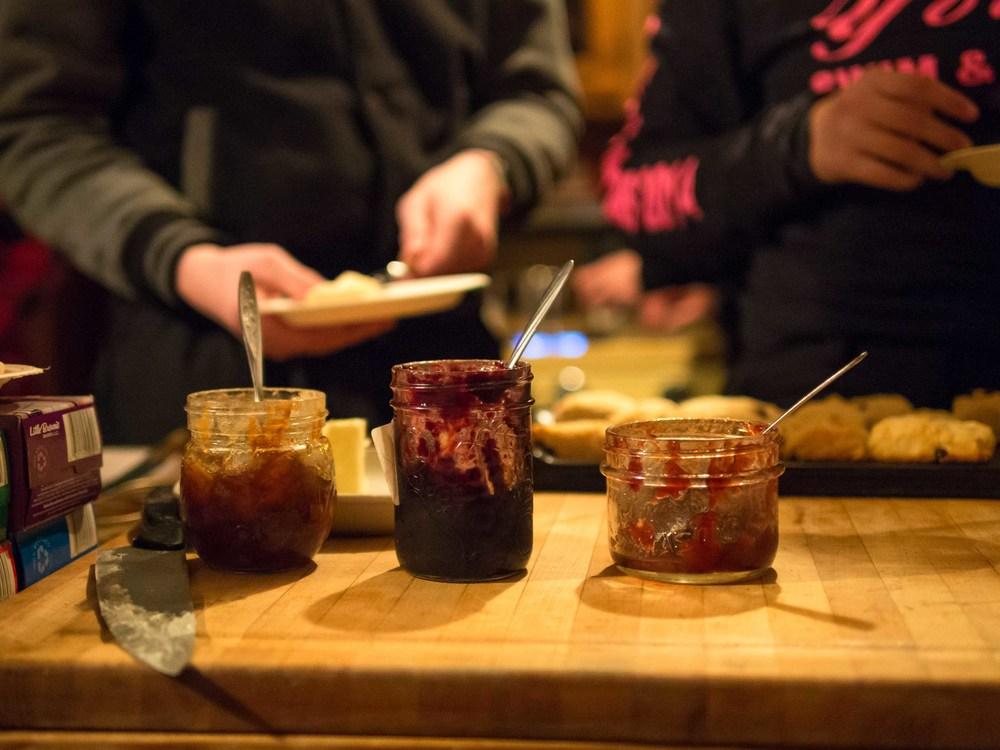 Homemade jams and fresh bannock. Photo by Anubha Momin.