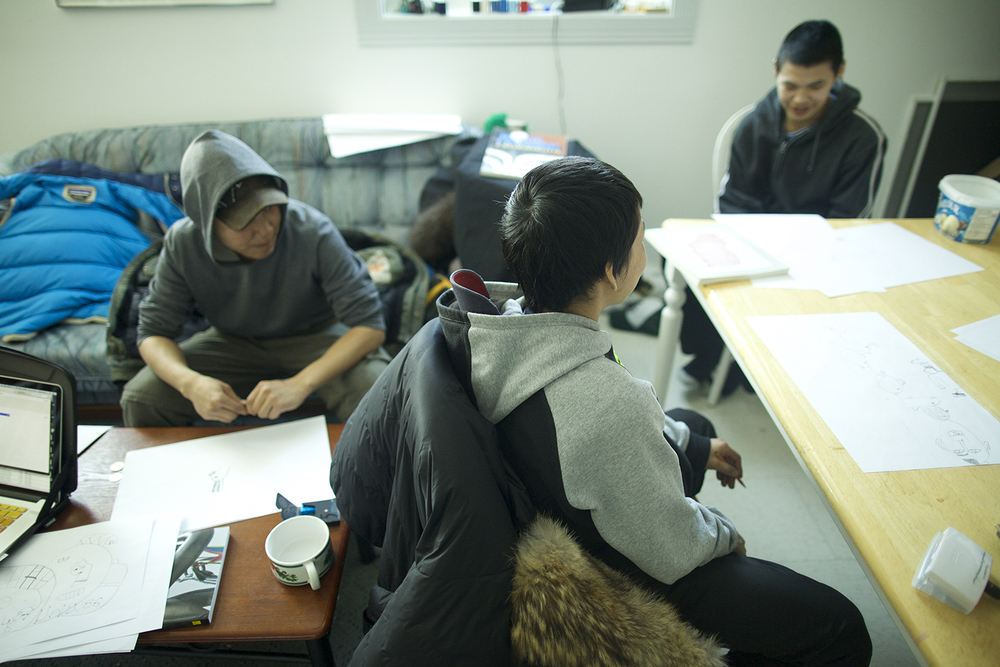 Audi, Latch, and Parr sketching in Cape Dorset. Photo by Patrick Thompson.