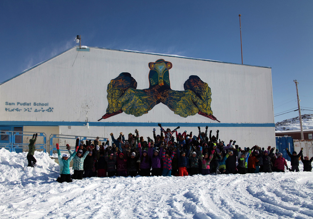 Mine Your Imagination mural in Cape Dorset. Photo courtesy of Embassy of Imagination.
