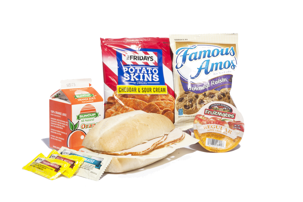 FK02 - Lunch / Dinner Turkey & Swiss on Sub Bun Potato Skins Sour Cream & Cheddar Applesauce Cup Oatmeal Raisin Cookies Juice Orange Mayonnaise Packet 1 per Mustard Packet 1 per Cutlery Kit/Towelette NAPA# 8940-01-E60-8178