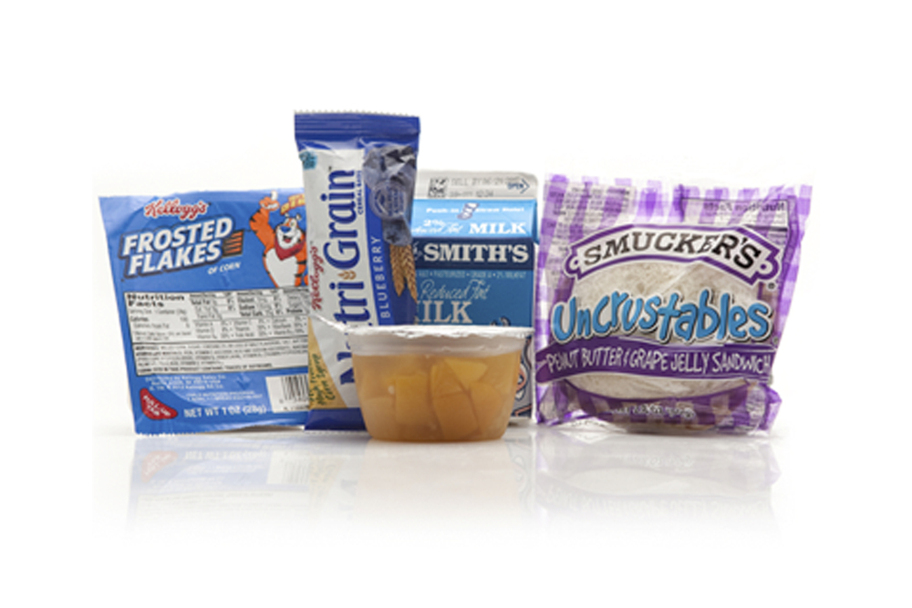 MB01 - BREAKFAST Cereal Assorted 2% Half Pint Milk Peach Cup Blueberry Nutri-grain Bar Peanut Butter & Jelly Sandwich Sugar Packet Cutlery Kit Moist Towelette