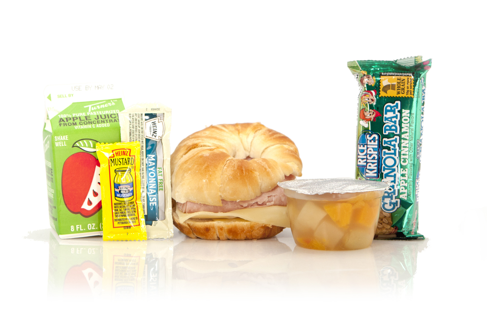 MB03- BREAKFAST Ham & Swiss on Croissant Mixed Fruit Cup Rice Krispies Cereal Bar Juice Apple 8oz Mayo Packet - Fat Free Mustard Packet Cutlery Kit Moist Towelette