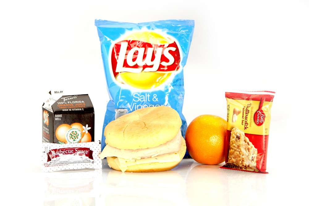MK02 - LUNCH / DINNER  Chicken Breast & Pepper Jack Cheese Hawaiian Bun BBQ Sauce Packet Fresh Orange Salt & Vinegar Potato Chips Butterscotch Oatmeal Bar Juice Orange 8oz Cutlery Kit Moist Towelette