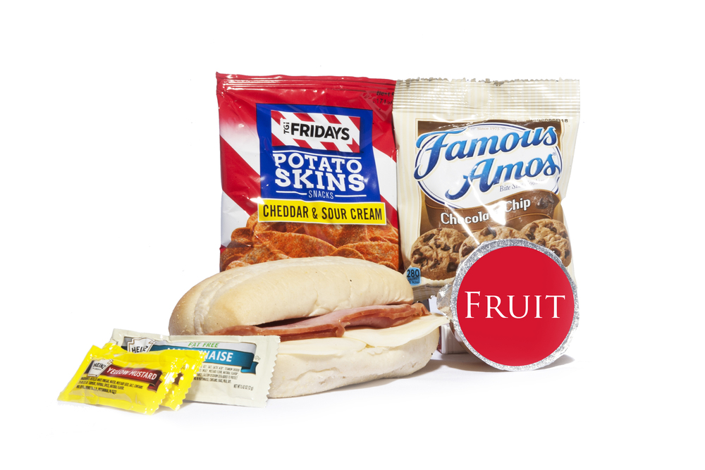 FK01ND - Lunch/Dinner   Ham and Provolone on Sub Bun Potato Skins – Sour Cream & Cheddar Mixed Fruit Cup Chocolate Chip Cookies Mayo Packet (1) Mustard Packet (2) Mint Cutlery Kit Moist Towelette  NAPA #: 8940-01-E61-9559