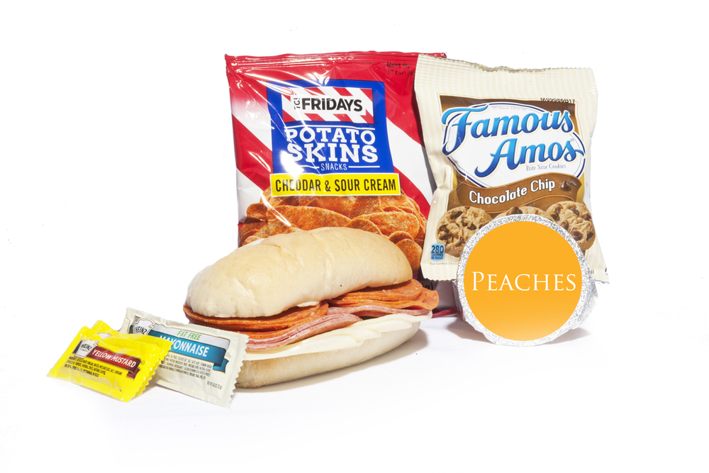 FK03ND - Lunch/Dinner   Pepperoni Salami & Provolone Cheese on Sub Bun Potato Skins – Sour Cream & Cheddar Peach Cup Chocolate Chip Cookies Mayo Packet (1) Mustard Packet (2) Mint Cutlery Kit Moist Towelette  NAPA #: 8940-01-E61-9561
