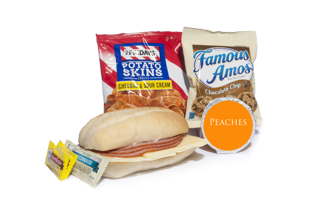 FK06ND - Lunch/Dinner   Ham & Swiss on Sub Bun Potato Skins – Sour Cream and Cheddar Peach Cup Chocolate Chip Cookies Mayo Packet (1) Mustard Packet (2) Mint Cutlery Kit Moist Towelette  NAPA #: 8940-01-E61-9560