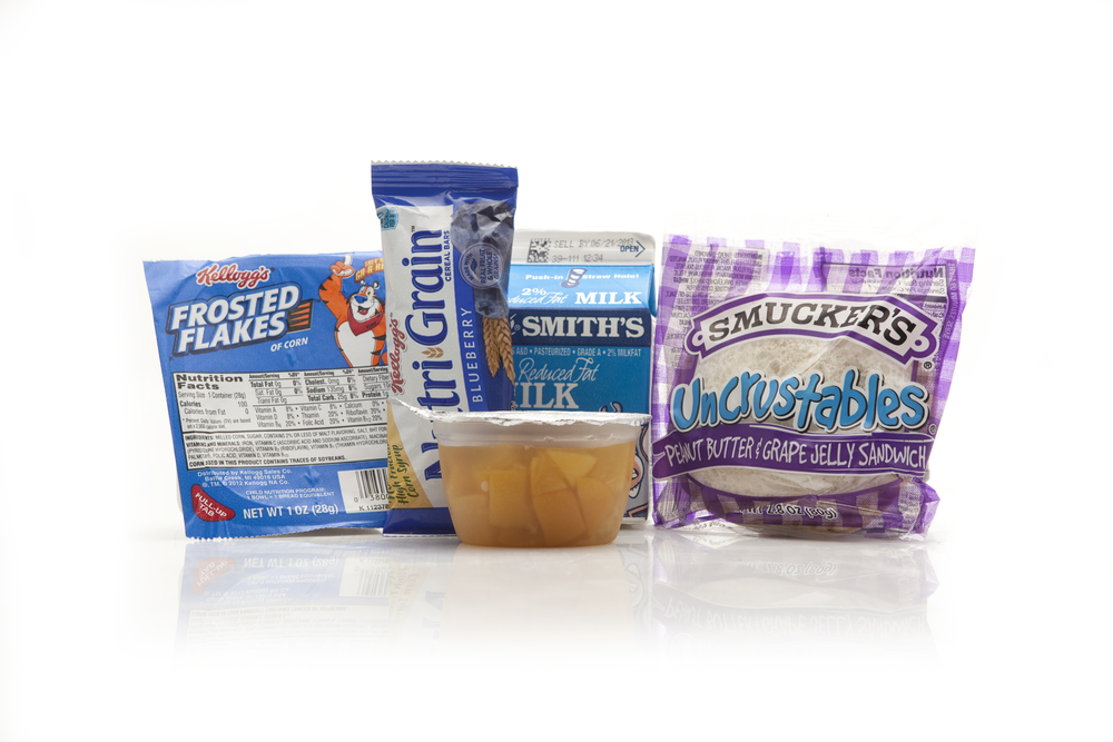 MB01D - BREAKFAST Cereal Assorted 2% Half Pint Milk Peach Cup Blueberry Nutri-grain Bar Peanut Butter & Jelly Sandwich Sugar Packet Cutlery Kit/Moist Towelette