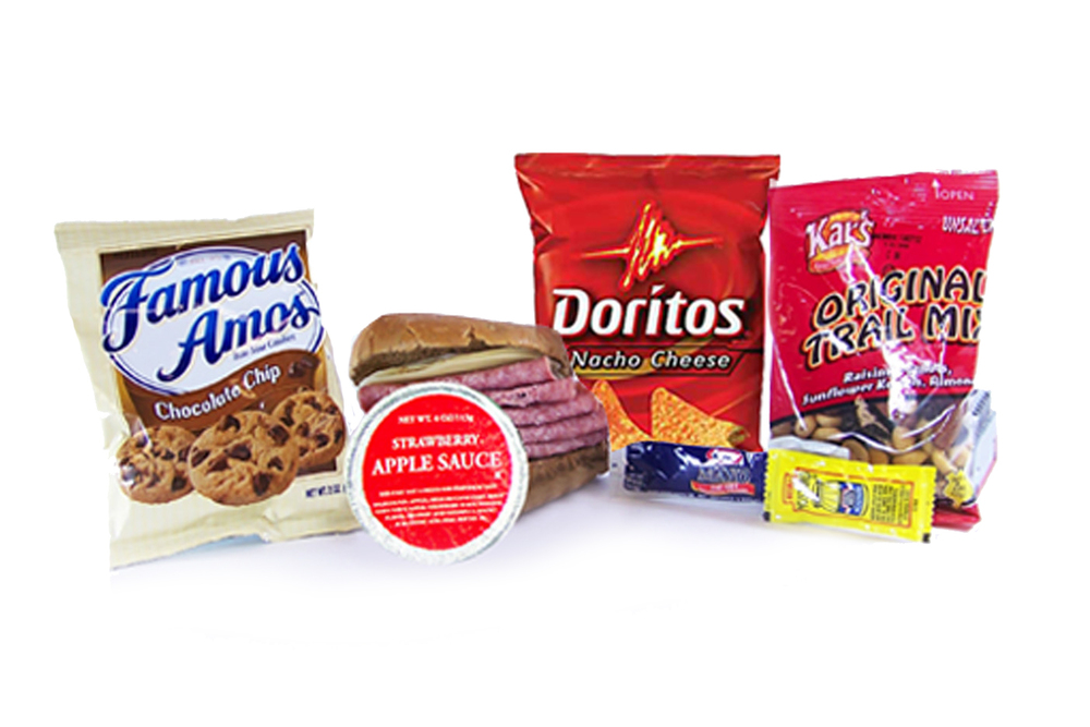 MK05D - LUNCH / DINNER  Salami & Provolone on Multi-Grain Bun Trail Mix - Original Chocolate Chip Cookies Strawberry Apple Sauce Mayo Packet - 2 per Mustard Packet - 1 per Dorito Nacho Chip Cutlery Kit/Moist Towelette