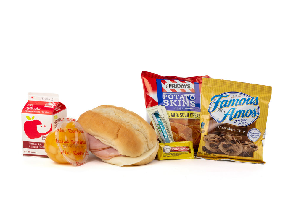 FK01 - Ham/Provolone Sandwich - Frozen NAPA 894001E608177  Sandwich - Ham/Provolone on Sub Bun Frozen  Chip Potato TGIF Cheddar Bacon Mixed Fruit Cup Cookie Choc Chip Famous Amos  Frozen Apple Juice Mayonnaise Packet Fatfree Dressing Mustard Packet Candy Mint Starlight Spearmint