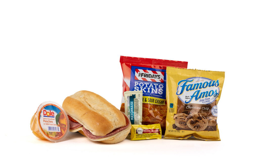 FK03ND - Italian Submarine - Frozen NO DRINK NAPA 894001E619561  Sandwich - Italian Submarine Frozen Chip Potato TGIF Cheddar Sour Cream Diced Peach Cup Cookie Choc Chip Famous Amos Mayonnaise Packet Fatfree Dressing Mustard Packet Candy Mint Starlight Spearmint