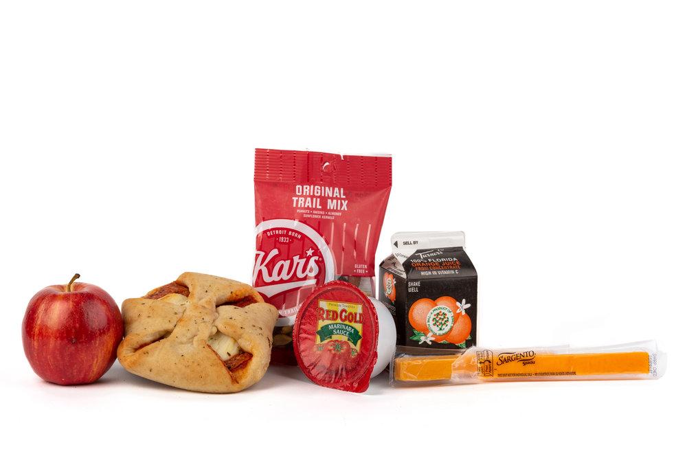 MK09 - Pepperoni Braid  Turkey Pepperoni Braid Trail Mix Original Apple Fuji Cheese Stick Cheddar Marinara Sauce Cup Orange Juice
