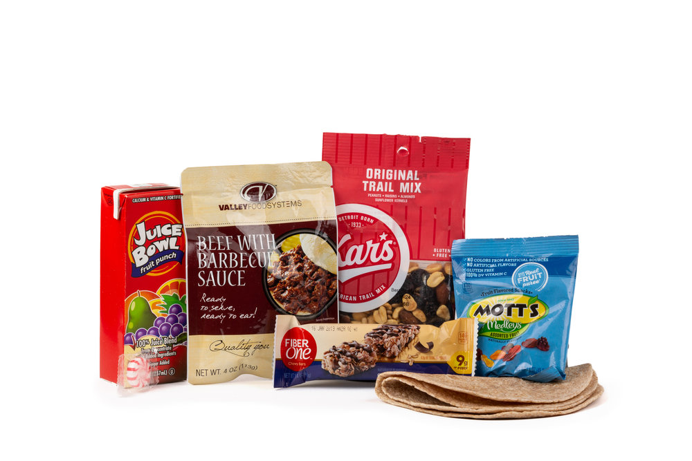 HSS59 - Shelf Stable BBQ Beef NAPA 897001E625901  BBQ Beef Pouch 4oz Tortilla Whole Wheat (2 Per) Trail Mix Original Fruit Snack Assorted Flavors Bar Fiber One Chewy Oat & Chocolate Fruit Punch Juice Candy Mint Starlight Spearmint