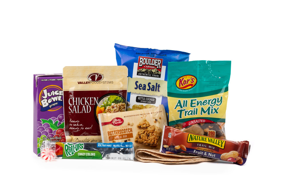 HSS61 - Shelf Stable Chicken Salad NAPA 897001E625903  Chicken Salad Pouch 4 oz Tortilla Whole Wheat (2 Per) Chip Potato Bag Boulder Canyon w/Sea Salt Trail Mix All Energy Bar Butterscotch Oatmeal Granola Bar Fruit Nut Fruit Roll Up Crazy Color Grape Juice Candy Mint Starlight Spearmint