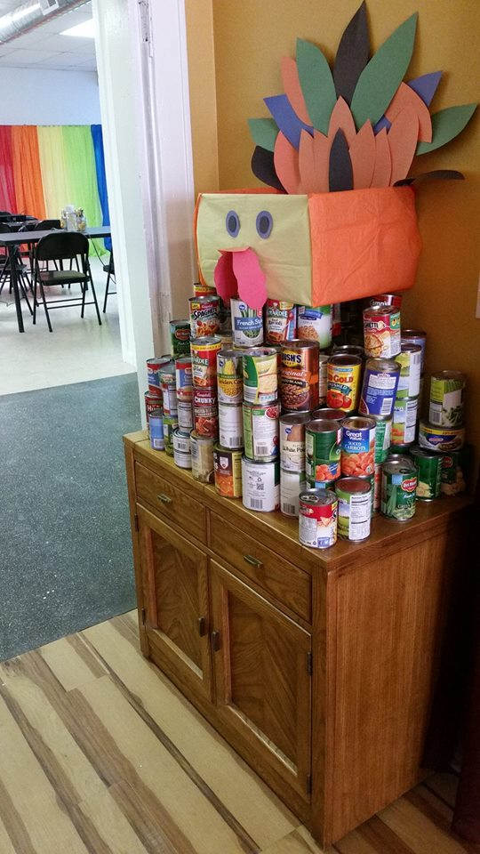 Canned donations for our Thanksgiving meal