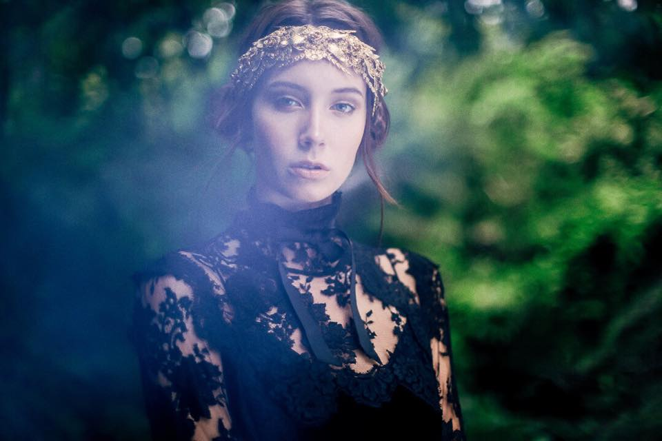 Jennifer Behr headband from V.O.D., vintage Dolce & Gabbana lace gown from Vintage Martini