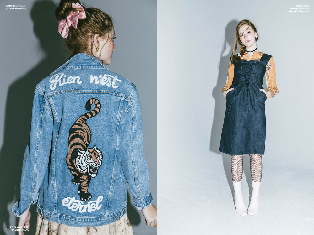 Haley wears  Grlfrnd  denim jacket and  Zimmermann  dress (left) and  Mayle  blouse and  See By Chloe  dress (right)