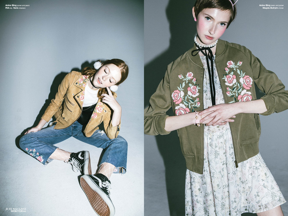 Haley wears  Anine Bing  jacket and jeans,  RtA  top and  Vans  (left) Mary TIsh wears Anine Bing dress and jacket with Magda Butrym pearl choker necklace (right)