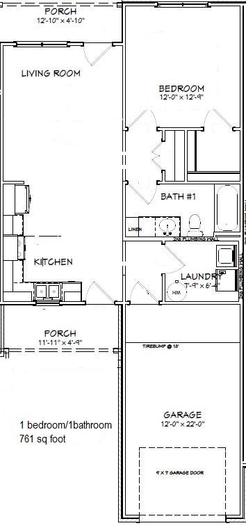 One bedroom, one bath, one car garage