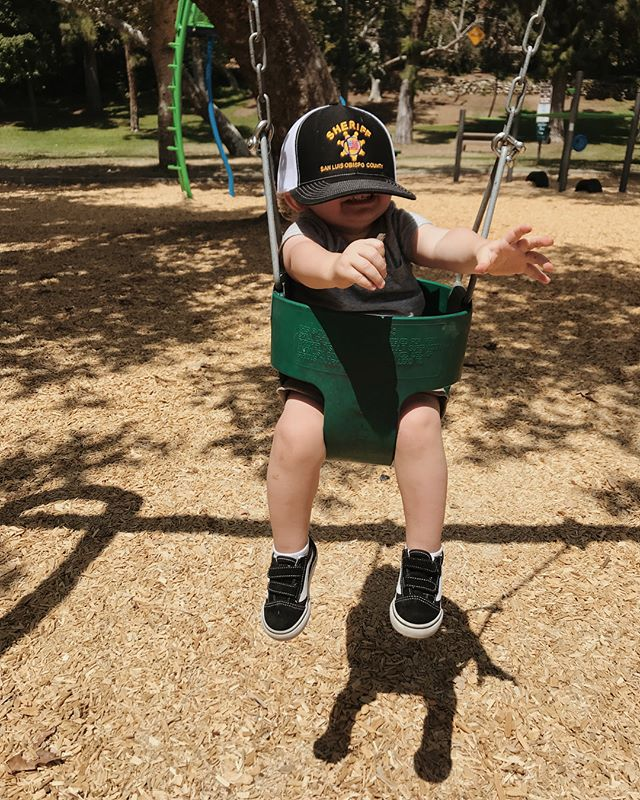 little park at the park in his papa park hat ☀️