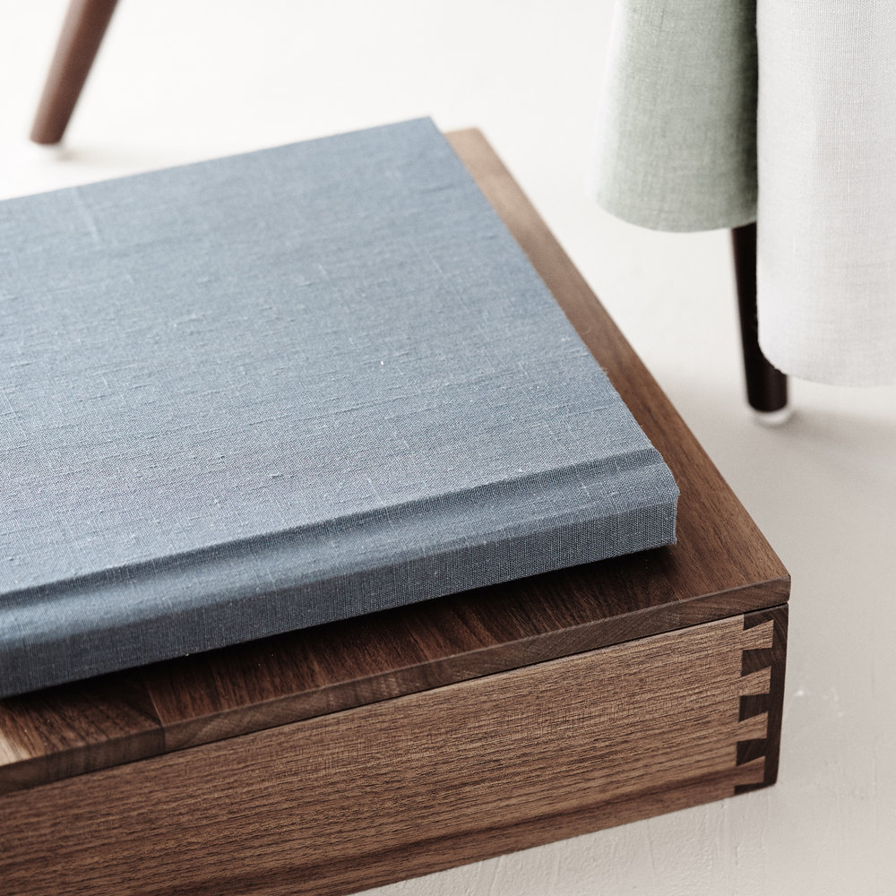 Premium Album with Custom Engraved Wood Heirloom Box
