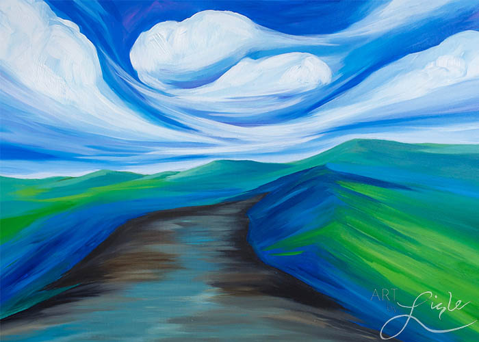 """The spirited path.""  Based on Genesis 12:1-8 & Matthew 28: 16-20 Painted live at Peace Presbyterian church, jacksonville, fl april 2016"