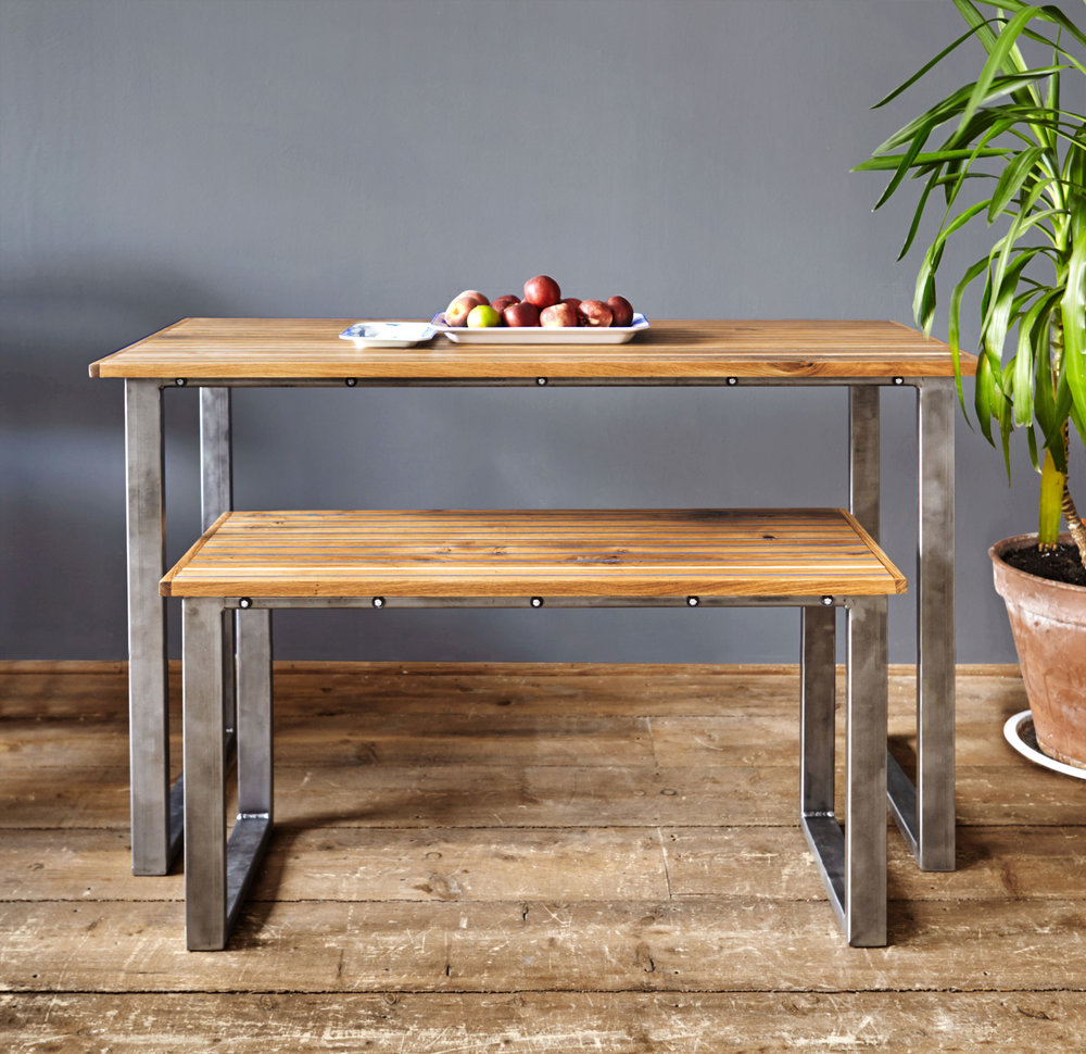 This BENCH was designed as part of a bench-table set, but would look equally stunning on its own as a coffee table.  It measures (in centimetres): W: 95. D: 34. H: 49.