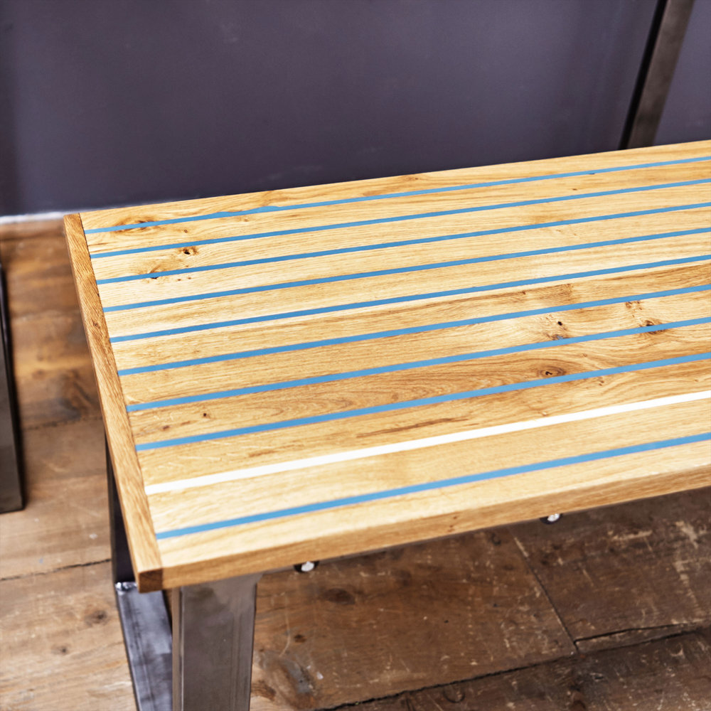 The benches can be made to almost any size, and to fit neatly under any size of table.