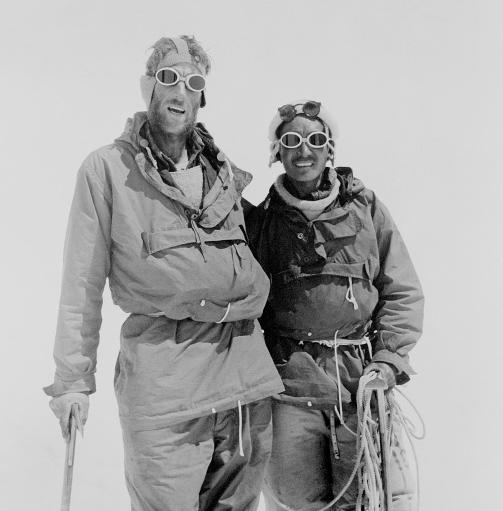 Hillary and Tenzing Norgay at Camp IV after their ascent of Everest. Photograph courtesy of The Royal Geographic Society (with IBG).