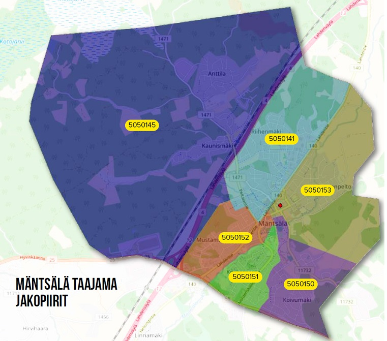 Lehtien jättöpaikka Karhuraitti 10 on merkitty karttaan punaisella pisteellä.