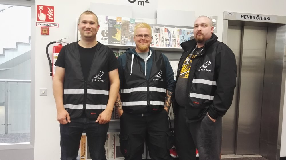 The area coordinators from left to right: Sami, Riku and Timo.