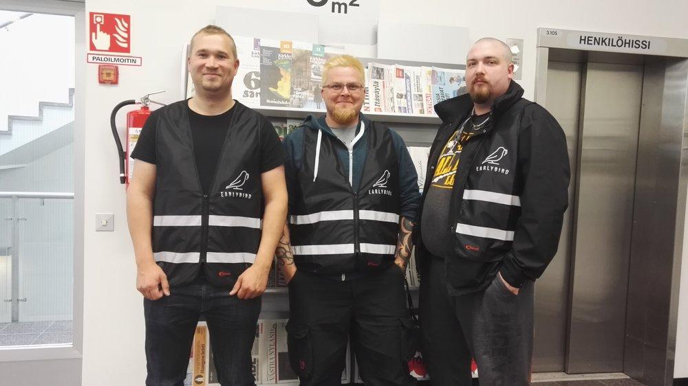 Aluekoordinaatorit vasemmalta Sami, Riku ja Timo