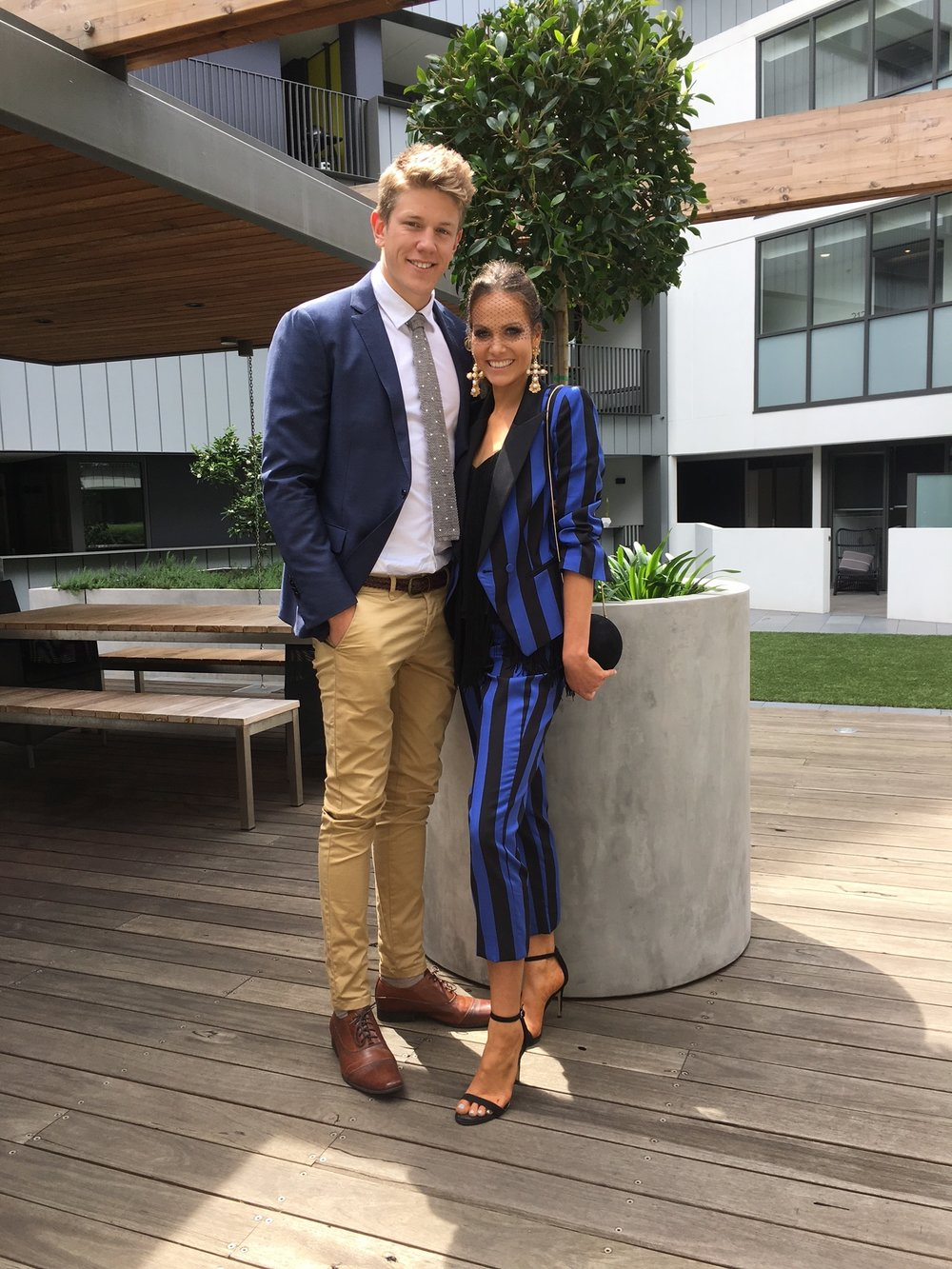 AFL Geelong Ruckman  Rhys Stanley, Model Kirsten Clemens for Caulfield Cup 2016