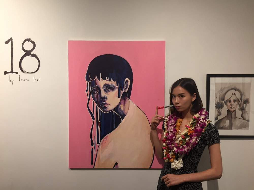 Lauren at her art show at Ars Cafe in Honolulu, HI.